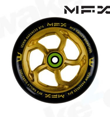MGP MFX R Willy Hurricane Signature 120mm Scooter Wheels - Anodised Gold - Buy Best Cheap Stunt Scooters Online At Wake2o.co.uk